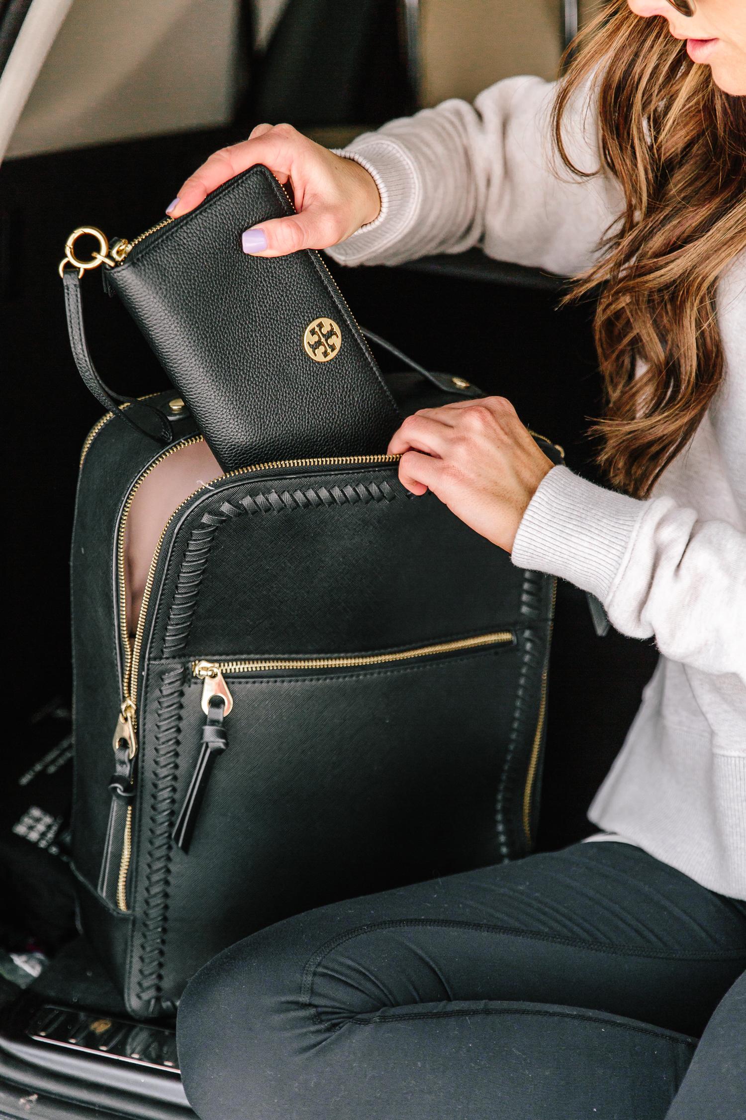 black tory burch leather passport wallet