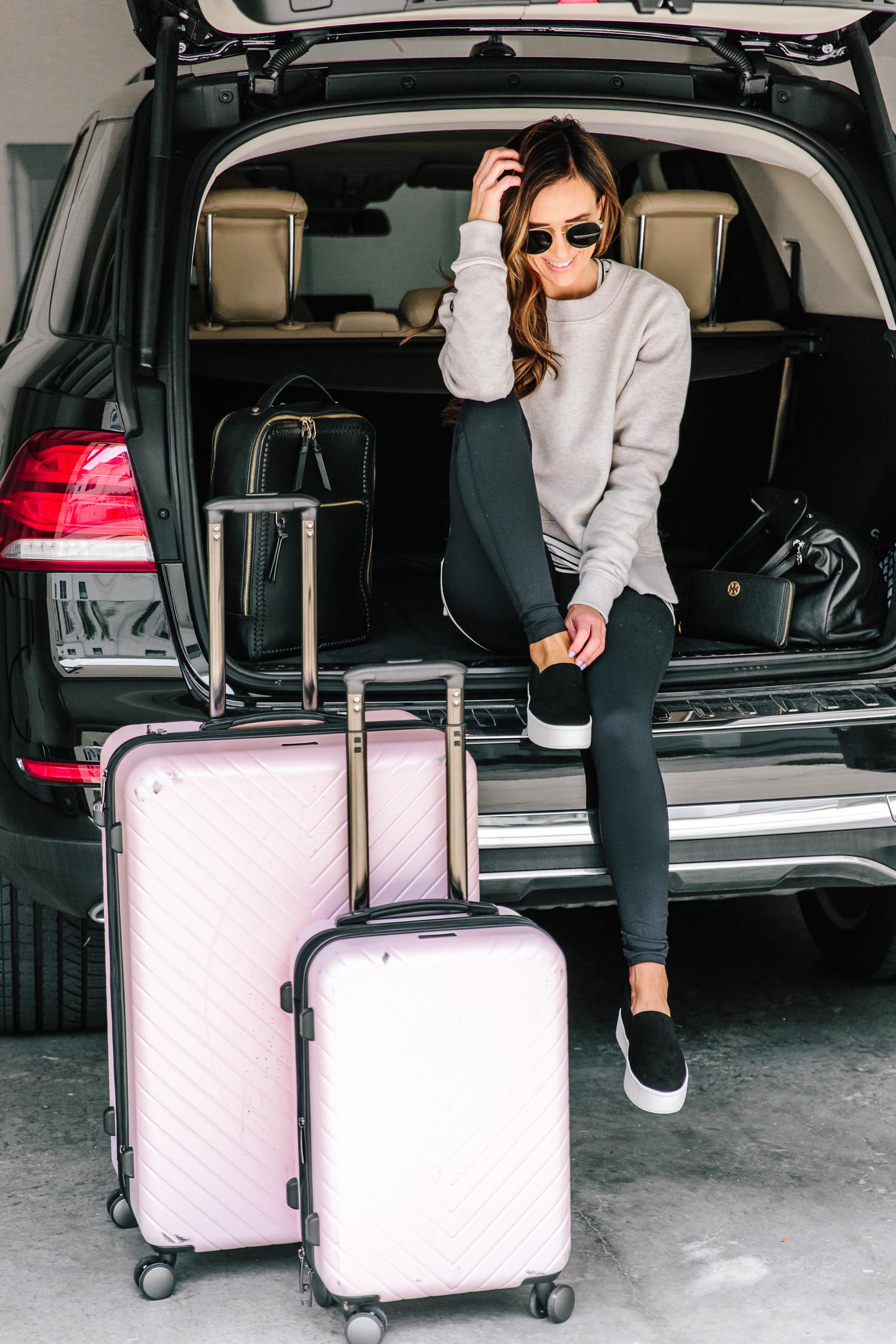 nordstrom anniversary sale pink chevron spinner luggage set