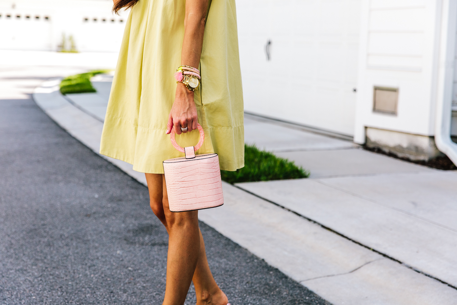 lime green dress, ruffle detail, color lover