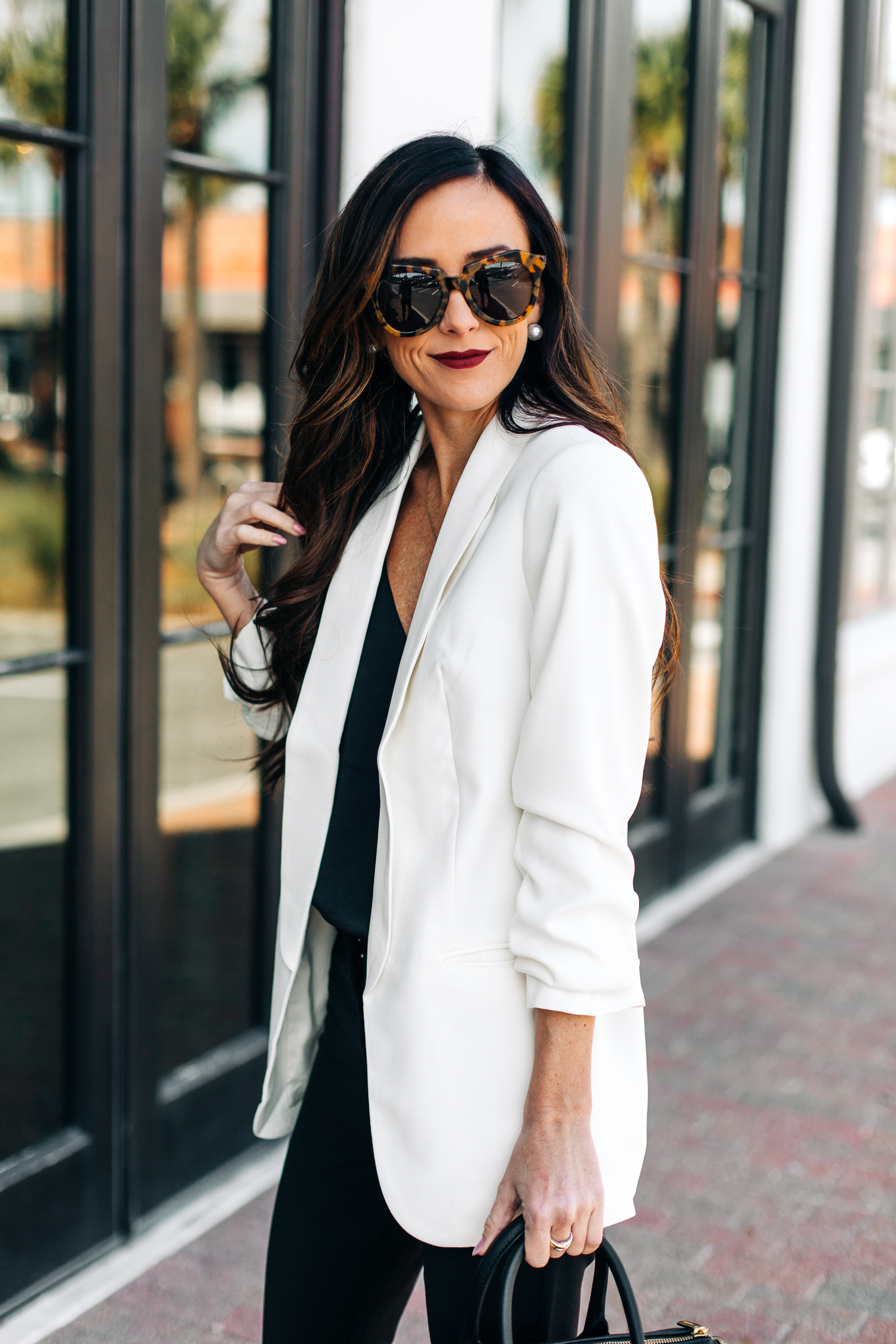 winter workwear, white blazer