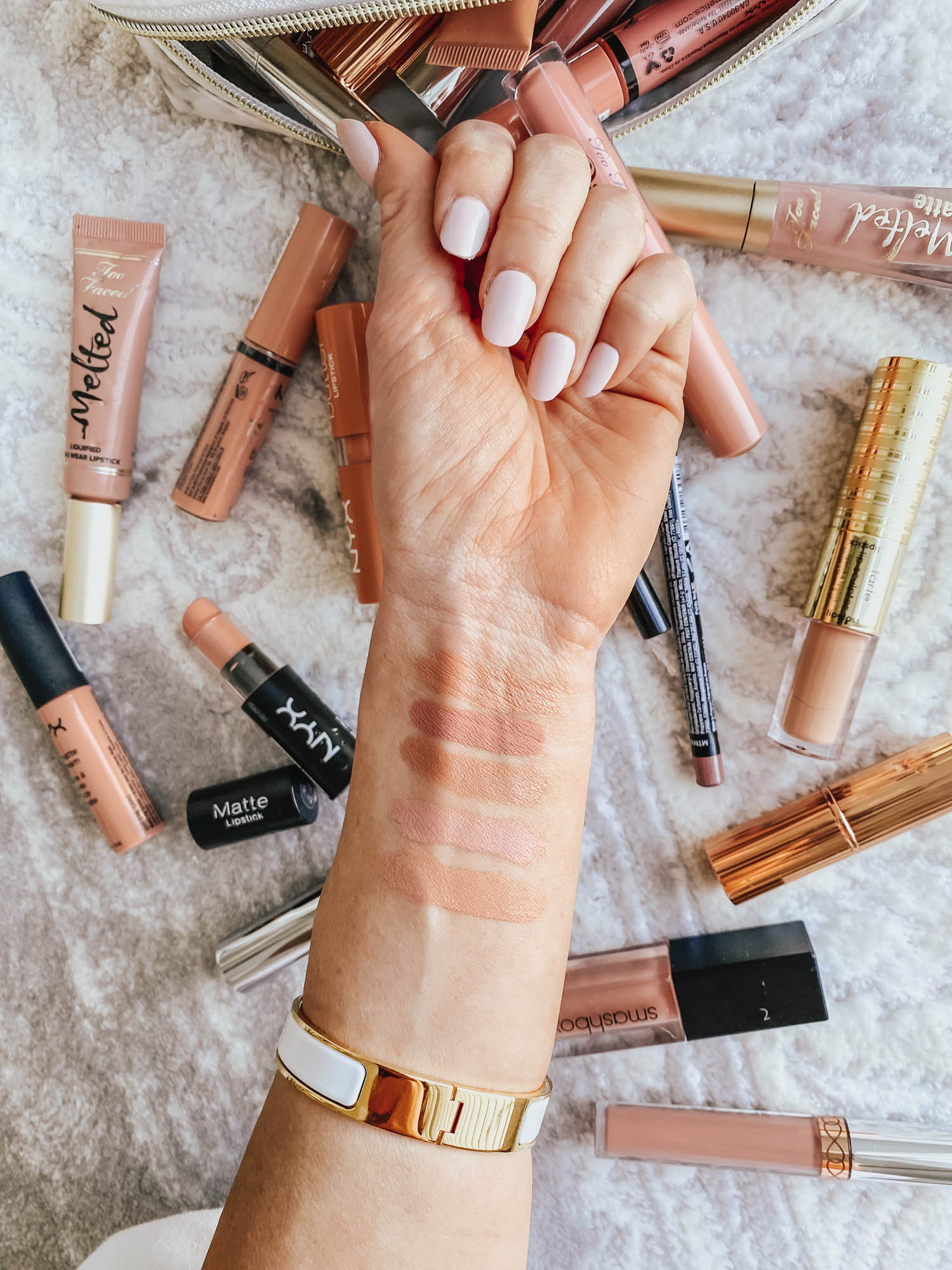 nude lip color swatches