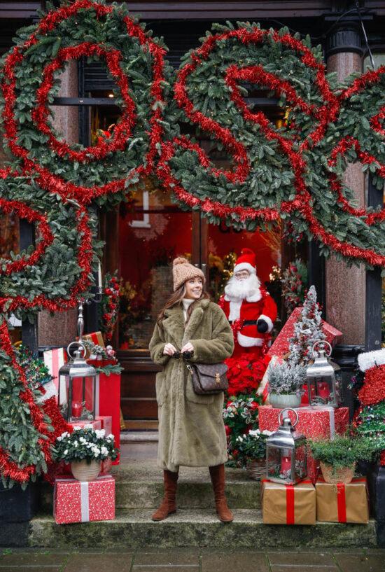faux fur coat, christmas outfit